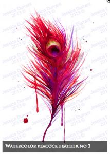 Watercolor Peacock No. 3